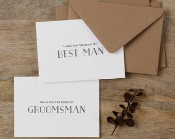 7 x Thank You Best Man Card, Groomsman Thank You Card, Page Boy Card, Thank You Groomsman Card, Usher Card, Best Man Wedding Card, K5