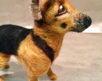 Needle felted dog, German shepherd, dog memorial, dog portrait, custom dog, pet memorial, pet portrait, felted dog sculpture, dog figurine