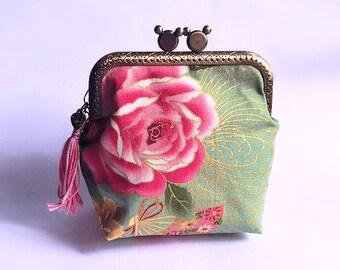 Japanese Rose, Metal Frame Purse, Kiss-Lock Purse, Multi-purposes  Purse