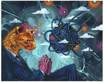 Surreal Art Print - Cat Art - Diabolical Dog by Black Ink Art
