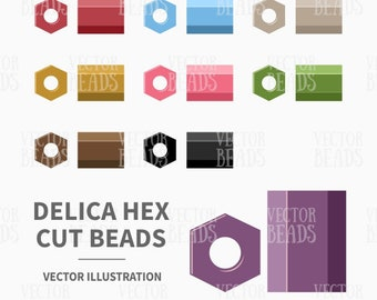 Vector Clipart Set of Delica Hex Cut Seed Beads - Digital Beads