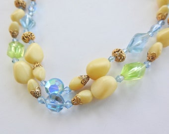 Lucite and Crystal Double Strand Necklace with Lucite Clasp