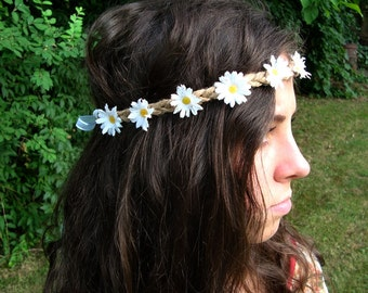 Simple White Daisy Flower Crown