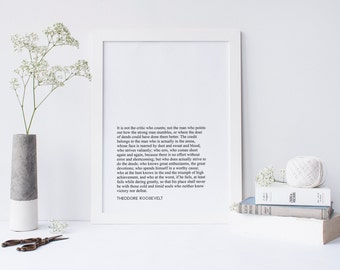 Man In The Arena Quote, Theodore Roosevelt, Printable, A4, 8x10, Monochrome, Inspirational, Speech, Minimalist, Home Decor, American