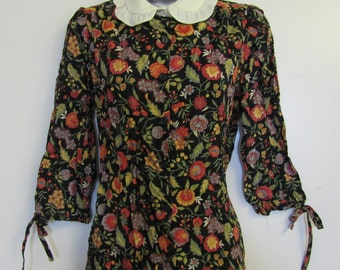 Floral Blouse Shirt Sz 12 Vintage 50's 60's Collared Crop Sleeve Smart Event Buttons Black Retro Rayon Summer Holiday