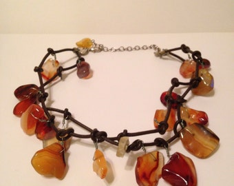 On Sale Amber Stone and Leather Big Bold Chunky Statement Necklace