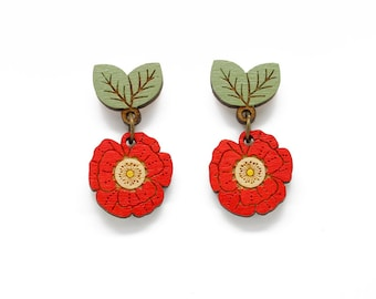 Poppy drop stud earrings - hand painted laser cut flower earrings