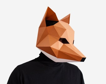 Fox Mask, DIY printable Animal Head, Instant Pdf download, DIY New Year Mask, 3D Polygon Masks, Printable Paper Mask