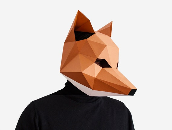 Fox Mask DIY printable Animal Head Instant Pdf download DIY