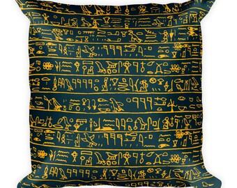Egyptian hieroglyphs, Square Pillow