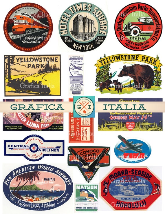 15 large usa travel stickers retro digital printable collage sheets vintage luggage labels instant download 003