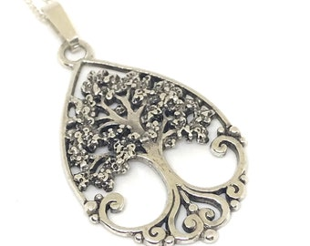 Sterling silver filigree Tree of Life pendant