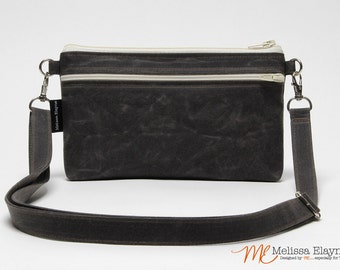 Waxed Canvas Cross Body Purse, iPhone 6 Plus Crossbody Bag -Medium