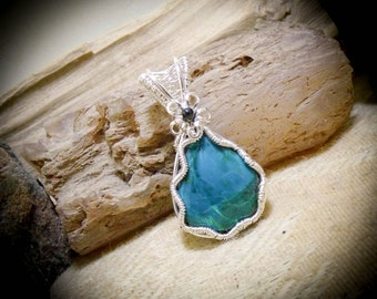 Wire Wrapped Turquoise Chrysocolla Gemstone Necklace Pendant