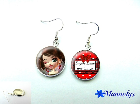 Earrings cabochon glass wise as an image of 504