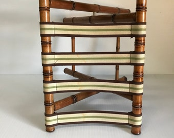 Vintage Luggage Rack, Faux Bamboo, Real Wood, Dorothy Draper Decor, Five  Straps,