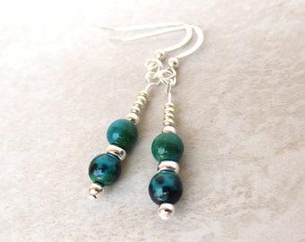 Turquoise Jasper and Sterling Silver Earrings/ Sterling Silver Dangle Earrings/Blue Phoenix Beads/Silver Czech Glass/Blue-Green Earrings