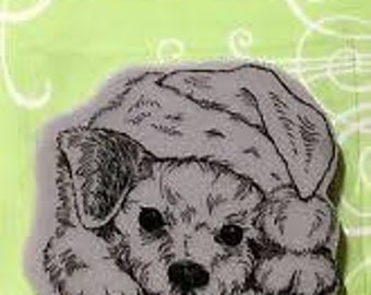 Christmas Stamp,Dog Stamp, Stampendous, Patient Pup, Rubber Stamp, Card Making, Paper Craft