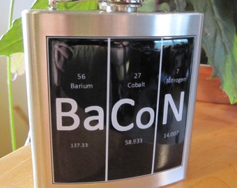 Bacon Element Table Liquor Hip Flask Stainless Steel 6 ounce