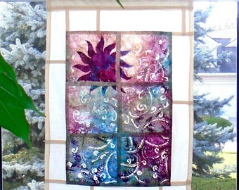 Amethyst Sunset ~ Batik Stained Glass Look Fabric Pojagi Window Treatment / dorm / cafe curtain / watercolor curtain / bleached art