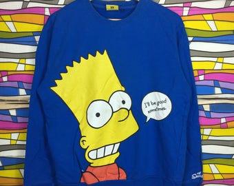 Rare!! Vintage THE SIMPSONS Crewneck Sweatshirt Blue Colour