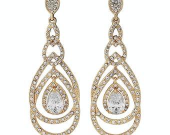 Bridal gold earrings, Gold drop earrings, gold dangle earrings, long gold earrings, bridal gold earrings, gold chandelier studs