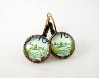 Tiny Evergreen Tree Leverback Earrings, 1992 Canada Postage Stamp Jewelry, Nickel Free Copper, Green, Nature, Gift Under 30, Made in Canada