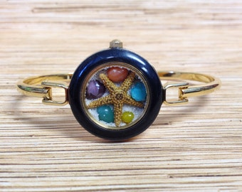 Gold Tone Clip  Upcycled/Recycled Beach Watch Bracelet