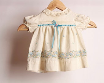 60s cute BABY blue dress shirt floral print newborn dress shirt