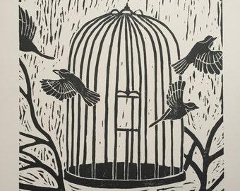 Liberté Lino coupe impression: Impression d'Art Wall Art, Limited Edition, décoration murale, noir et blanc oiseaux Nature Art Art cadeaux pour les jardiniers bloquer impression