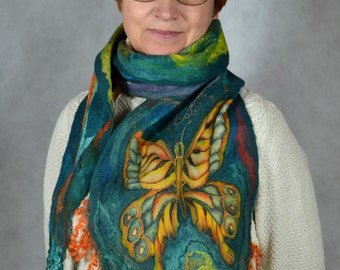 Felted Scarf  Blue-green Women Nuno Felted  Scarf  Wool and Silk Scarf with Butterfly Hand-Made