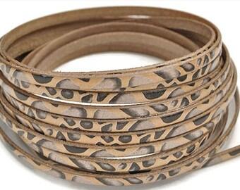 "5MM Animal Print Leather Cord - 1M/39.4""  - Beige/Black Multi - Best Quality European Leather Cord"