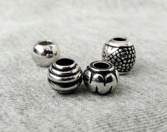 4 pcs. dread beads set, boho dreadlock beads set, dreadlock accessory, hair jewelry for braids, loc jewelry, hair beads,  chrome beads