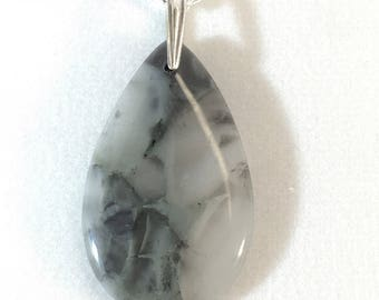Agate Pendant Necklace With Sterling Silver Bail - All Natural - Free Form - Quality - Fashion Jewelry - Finished Both Sides    P020