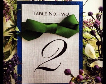 Table Numbers, Navy blue table number, blue glitter table number, blue and green table number, wedding table number,