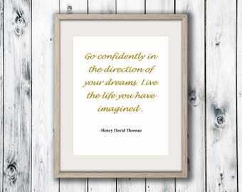 Henry David Thoreau Quote, Wall Art Print, Home Decor, Printable Digital Download, Poster Print