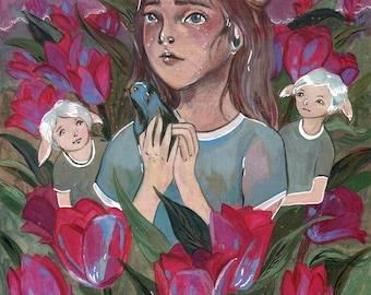 ORIGINAL PAINTING Tulip Bluebird, Original Art, Fairy Tale Fantasy Illustration ~  Sbeeart