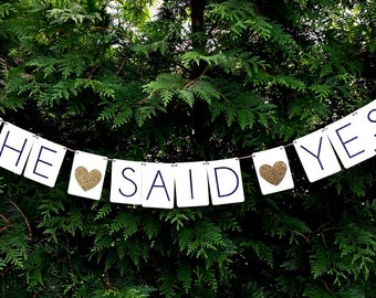 She said yes banner, engagement party banner, engagement party decor, nautical wedding decor,
