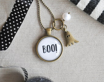 Boo, Halloween, Halloween Necklace, Ghost, Ghost Necklace, Halloween Jewelry, Boo Necklace, Halloween Boo, Halloween Pendant, Boo Jewelry