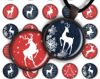 75% OFF SALE Digital Collage Sheet Christmas Deer 1inch Round 30mm 25mm 20mm Circle Pendant Download PC056 Instant Download Jewelry Making