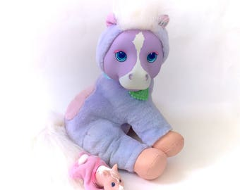 Vintage Hasbro Purple Pony Surprise Complete With 1 Baby Babies & Collar HTF Horse Ponies Pregnant Pouch Secret 90s Kawaii Pastel Fairy Kei
