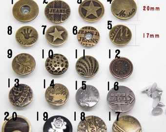 6~8 Pcs 0.67~0.79 Inches Bronze/Silver/Black Snap Fastener Copper Metal Shank Buttons For Jeans