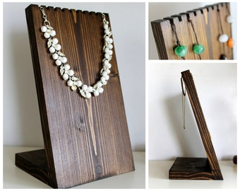 Wooden Necklace Display Board | Necklace Bust, Jewelry Stand, Craft Show, Retail Fixture, Jewelry Holder. Available in Many Sizes and Colors
