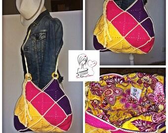 Yellow, pink and purple crochet granny bag