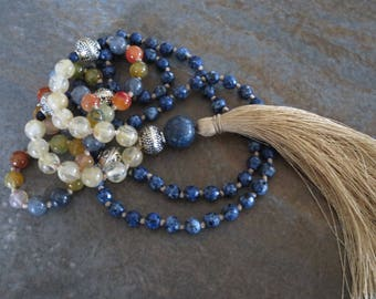 Lapis Lazuli Mala Necklace, Multicolor Jade, Yellow Quartz, 108 Beads Mala Necklace, Boho Mala, Healing Mala, Hand Knotted with care.