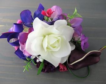 White Magnolia Hydrangea Purple Wedding Prom Corsage Real Touch Plum Calla Lily