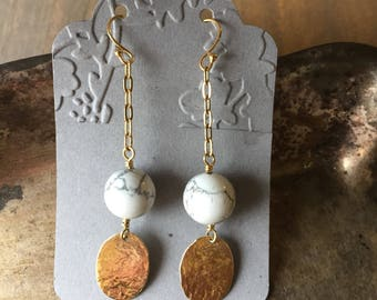 Handcrafted Howlite earrings with hammered charms