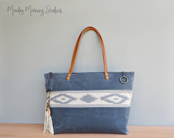 Boho Waxed Canvas Tote, Blue Grey Southwest Aztec Tote with Leather Handles, Large Zipper Tote Bag, Tribal Waxed Canvas Tote Bag, USA Made