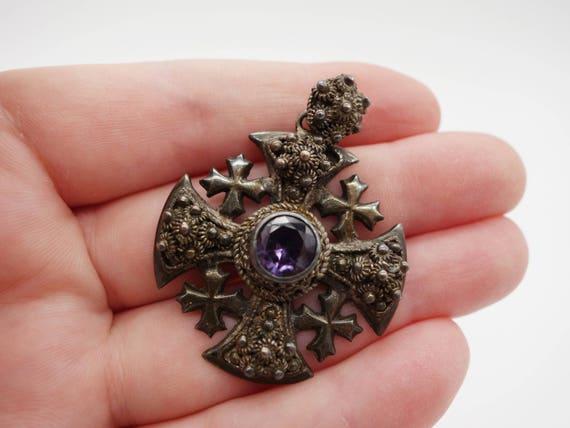 950 silver jerusalem cross pendant alexandrite pendant like this item aloadofball Images