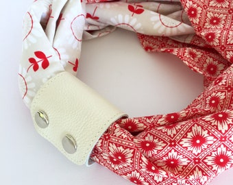 Infinity Scarf & Cuff: Red geometric and floral with cream scarf cuff